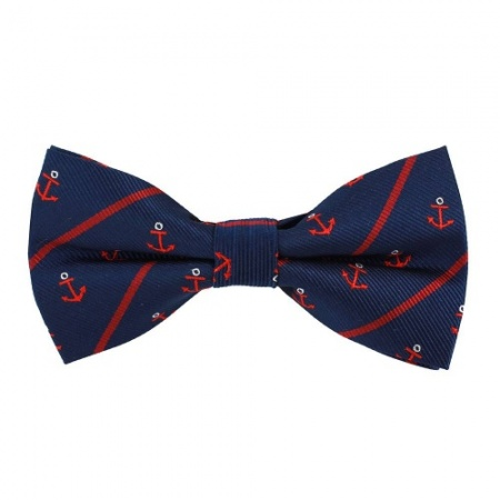 Blue Bow Tie with Red Anchors
